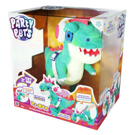 Party Pets DJ Rex – Electronic Soft Plush Dino Green